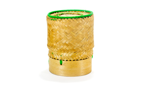 osier: Wicker Bamboo for sticky rice tradition handicraft with white background