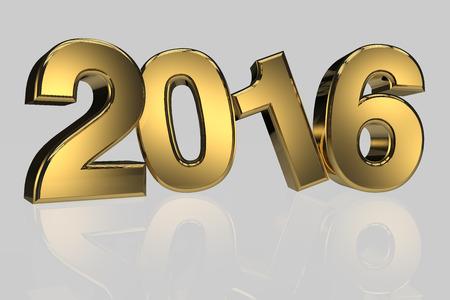 three dimension: New year 2016 gold three dimension high resulation render