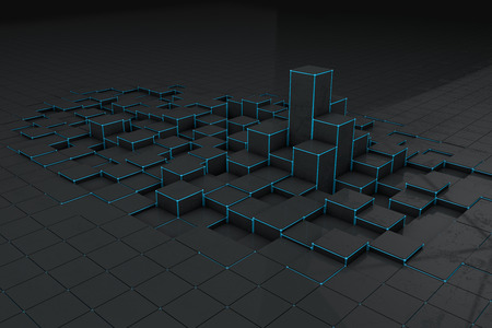 plastic texture: Abstract black 3d blocks  background