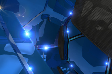 blue 3d blocks: Abstract black and blue 3d blocks  background with light flare