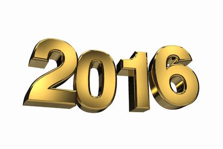 0 1 year: New year 2016 gold three dimension Illustration