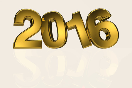 objects with clipping paths: New year 2016 gold three dimension Illustration