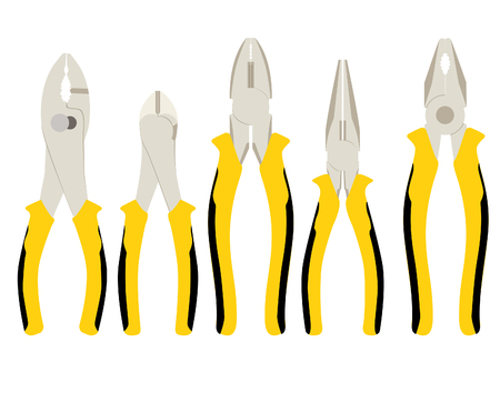 Set of different types of pliers and side cutters