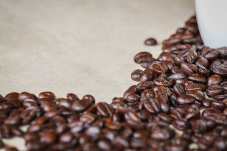 Close up of roasted black coffee beans