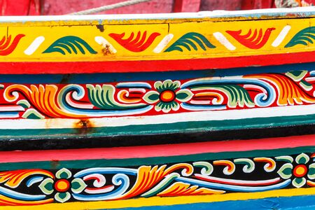 The traditional long tail boat of Thailand that, colorful pattern of Koleh boat or Kolek boat in southern thailand