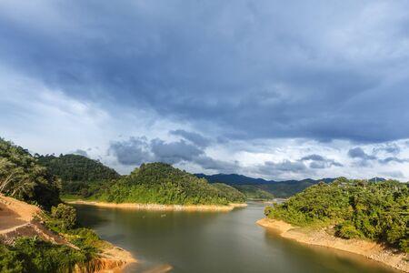 Green Lake and beautiful blue sky in Betong, Yala, Thailand