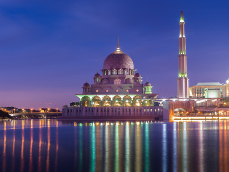 Putra mosque at Putrajaya during blue hour of sunset Editorial