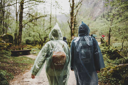 Two travelers with backpacks in polyethylene green & blue raincoats walking in the forest in rainy weather 스톡 콘텐츠 - 152933499