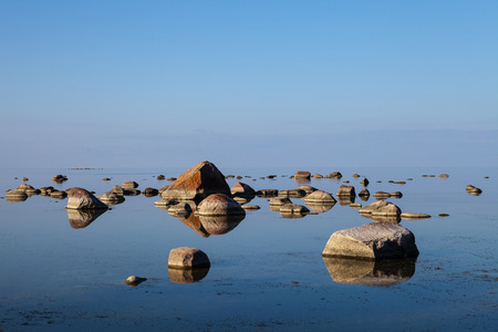 horison: The stones into the Baltic sea on a beauty horison