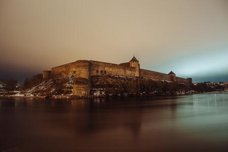 salzach: The medieval fortress Ivangorod, river Narva, Estonia