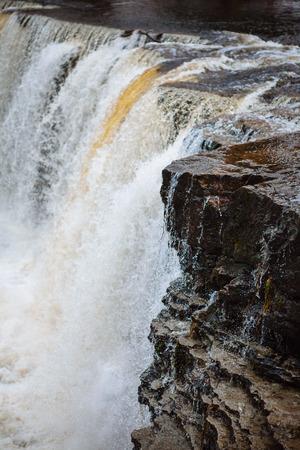 joa: Keila-Joa waterfall splashes, an Estonian national sightseeing Stock Photo