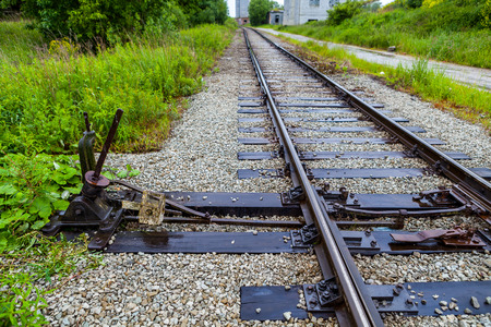 shunt: Manual railroad switch on old plant in Maardu, Estonia Stock Photo