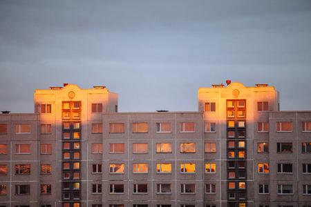 Apartment house in the rays of sunset in Lasnamae, Tallinn