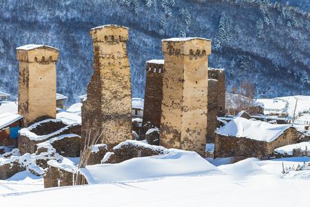 svaneti: Big Svaneti towers in village, Georgia, Caucasus