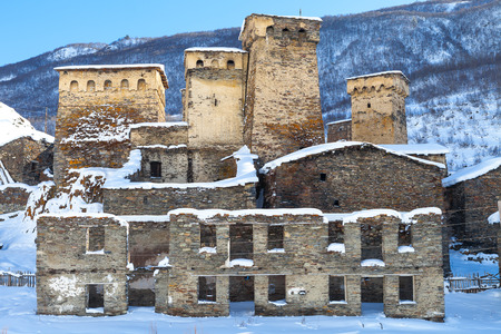 ushguli: Big Svaneti towers in Ushguli, Georgia, Caucasus Stock Photo