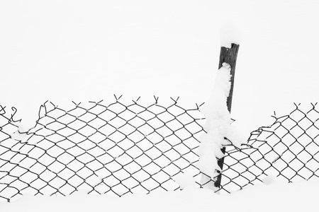 Wire fence in the snow - black and white picture photo