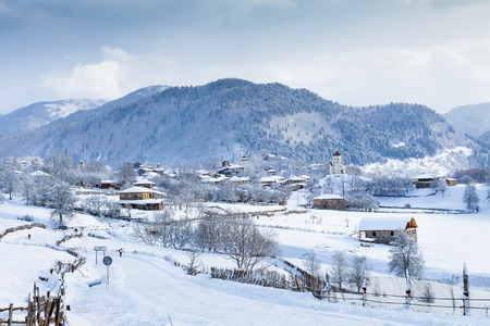 svan: Svan medieval village in the valley of the Caucasus Mountains. Clear sunny weather, winter.