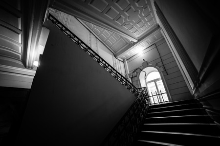 the passage: The geometry of the flight of passage in old house in Kharkiv, Ukraine Stock Photo
