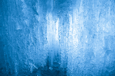 hollow wall: Frozen waterfall. Icicles structure Stock Photo