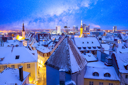 tallin: Scenic winter evening city view of the Old Town