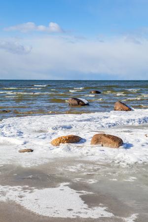 Winter Baltic Sea coast with stones in Lahemaa national park, Estonia