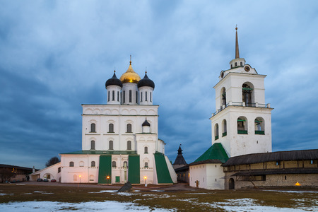 island: Pskov Kremlin fortress. Cathedral at the evening Stock Photo
