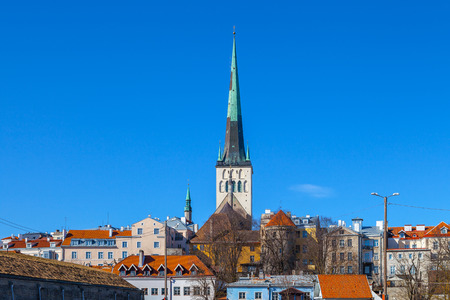 lutheran: Beautiful St. Olaf church and houses of old Tallinn
