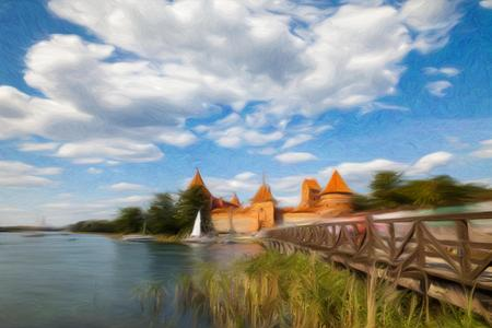 pictorial art: Trakai castle and lake at sunny day, Lithuania - digital artwork in painting style
