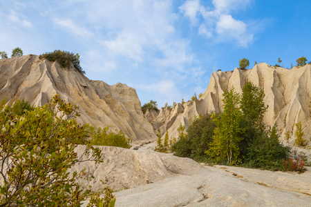 pit fall: Sand hills of abandoned quarry. Autumn scene, Estonia