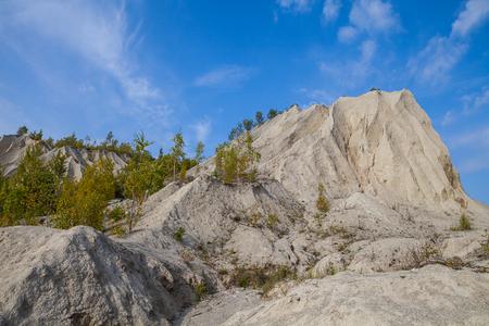 pit fall: Sand hills of Rummu quarry. Autumn scene, Estonia Stock Photo