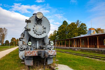Retro steam cocomotive at the Haapsalu railway station