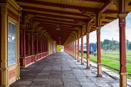 Platform of old vintage railway station in Haapsalu, Estonia