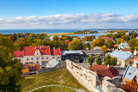 Panoramic view of small town Haapsalu from castle tower, coast of Baltic sea, Estonia