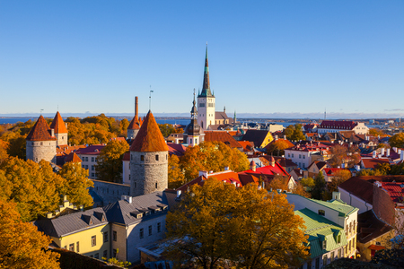Old City Town Tallinn in Estonia. Sunny autumn day with gold leaves on the trees.