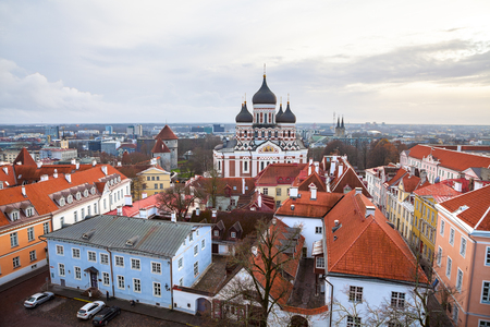 Toompea hill with Russian Orthodox Alexander Nevsky Cathedral, view from the Dome church, Tallinn, Estonia. Stock Photo