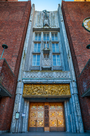 gildhall: Exterior of the Oslo City Hall in Oslo, Norway