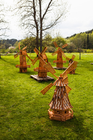Small Wooden Windmills For Decorative Garden. Stock Photo   83973120