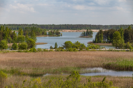 sand quarry: Abandoned sand quarry with lakes and forest