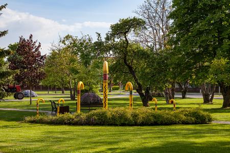 Park of walking stick, yellow colorful ones. Sigulda, Latvia