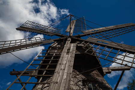 Old wooden windmill tower, wide angle veiw from bottom.