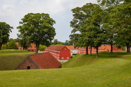 Red Storehouses at Kastellet in Copenhagen, Denmark