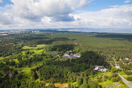 Tallinn botanical garden aerial view from Tallinn TV tower. Summer time. Stock Photo