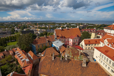 Tallinn panoramic view of old town with red tiled roofs