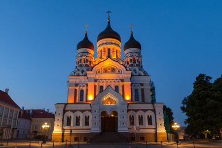 Alexander Nevsky Orthodox Cathedral at night. Illuminated church and deep blue sky.