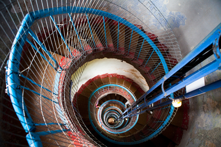 High old lighthouse staircase Stock Photo