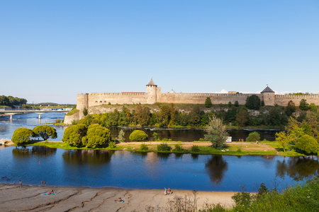 Ivangorod fortress on the border of Estonia and Russia. Summer day panoramic view.