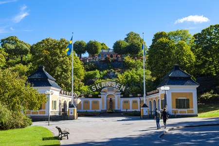 Entrance to the ethnographic complex the open air museum Skansen, located on Djurgarden Island Stok Fotoğraf
