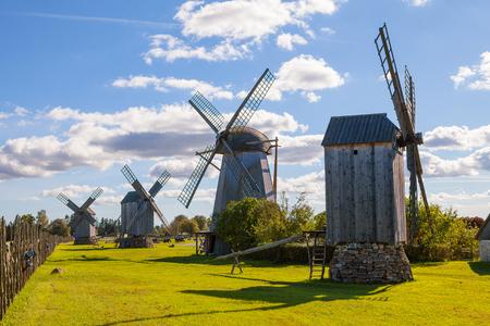Traditional wooden windmills of Saaremaa island, Estonia. Sunny autumn day. Banco de Imagens