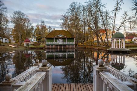 rotunda: Manor with a pond, bathhouse and rotunda at sunrise. Palmse, Estonia.