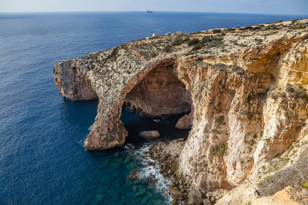 Blue Grotto limestone arc, majestic nature landmark of Malta island